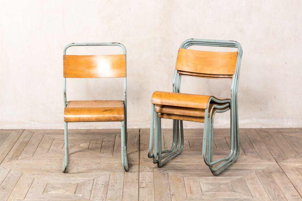 vintage industrial school chairs