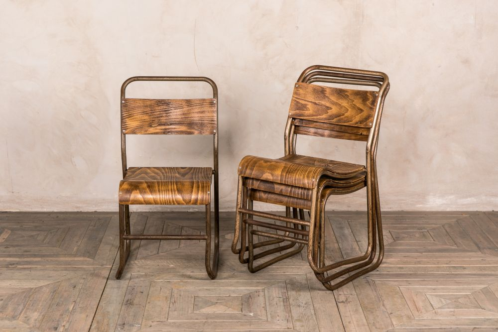 vintage stackable metal frame chairs