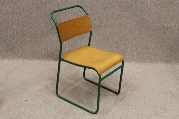 Vintage Remploy Stacking Chairs with Green Frames