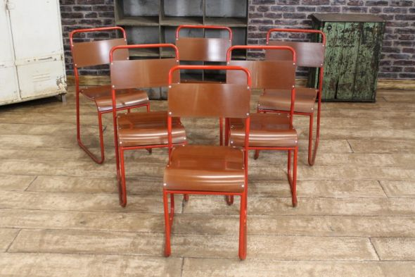 Anglesey stacking chairs red frame original cox