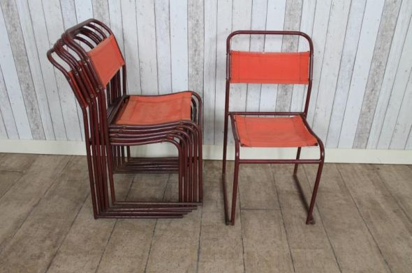 red canvas stacking chairs