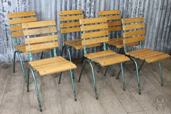 Wood slatted stacking chairs