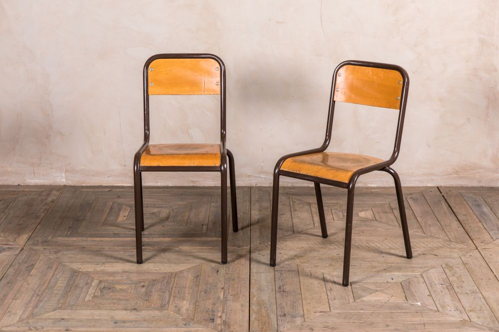 old metal school chairs