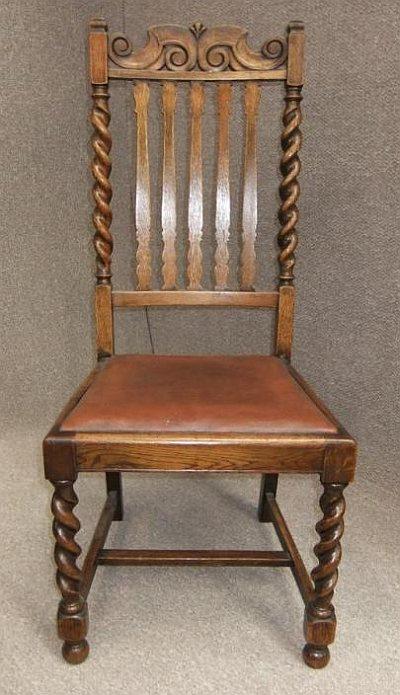 SIX SOLID OAK BARLEY TWIST EDWARDIAN DINING CHAIRS - Antique Barley Twist  Chairs Antique Furniture - - Antique Barley Twist Chairs Antique Furniture
