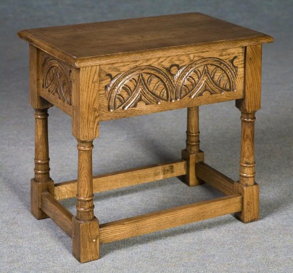 solid oak carved work box