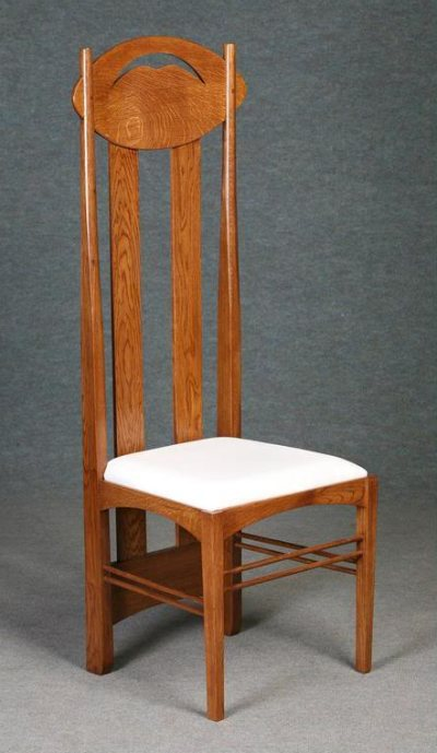 solid oak argyle mackintosh chair front view