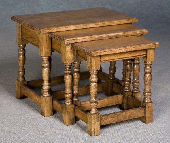 solid oak refectory nest of coffee tables