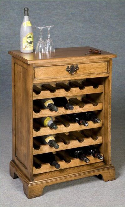 solid oak wine rack with drawer