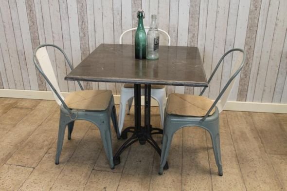Disc Square Stone Top Table With Cast Iron Legs 80x80cm