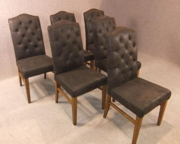 Suede chesterfield dining chair