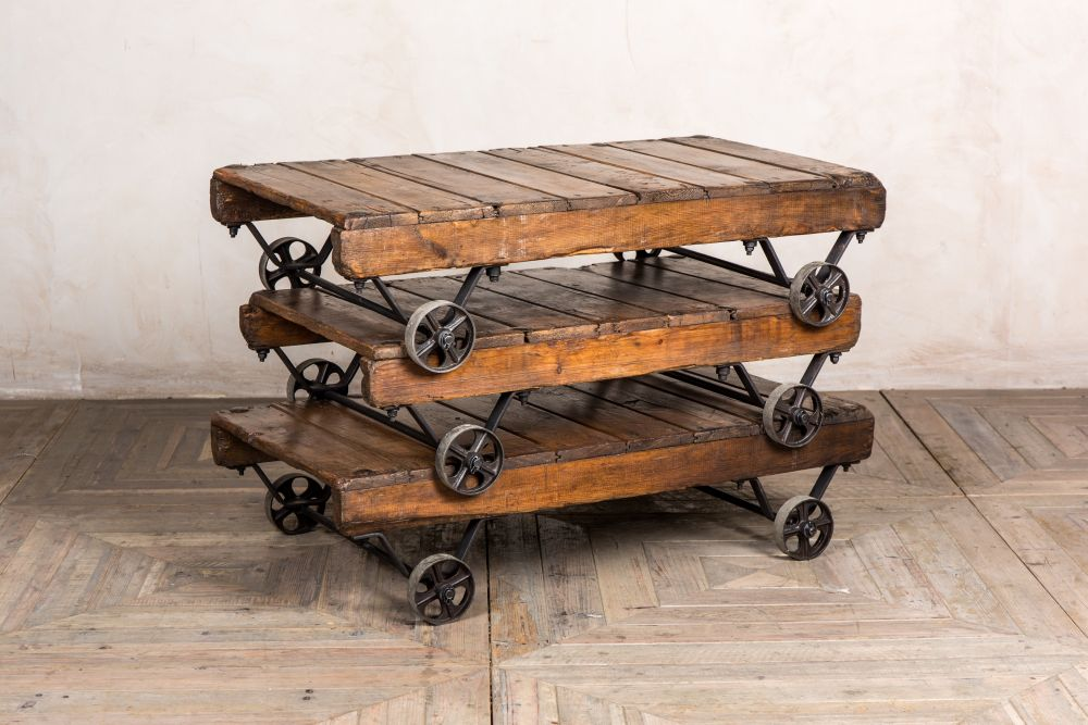 industrial style coffee table with wheels