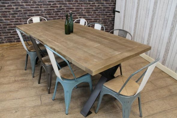 INDUSTRIAL STEEL TABLE WITH RECLAIMED AND RECYCLED OAK TOP