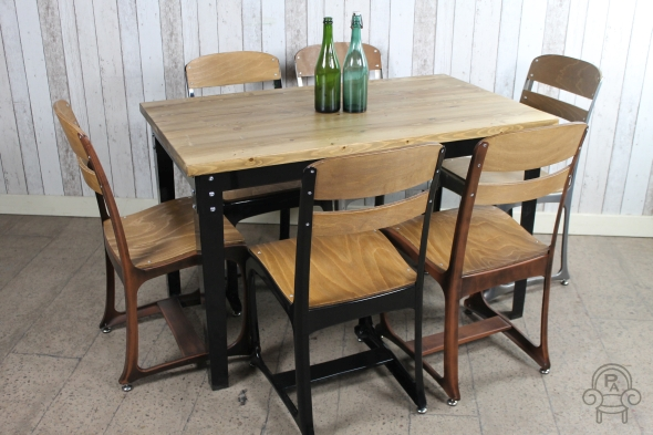 industrial inspired restaurant tables