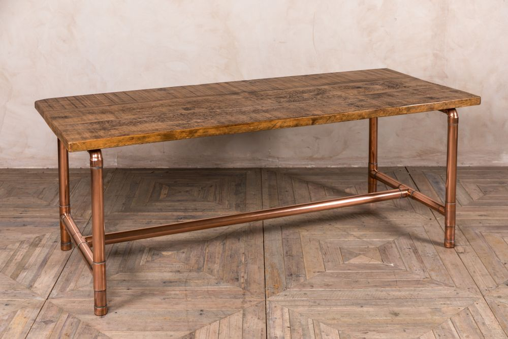 Industrial Copper Pipework Table Bespoke Pine Peppermill Interiors - Industrial Pipe Sofa Table