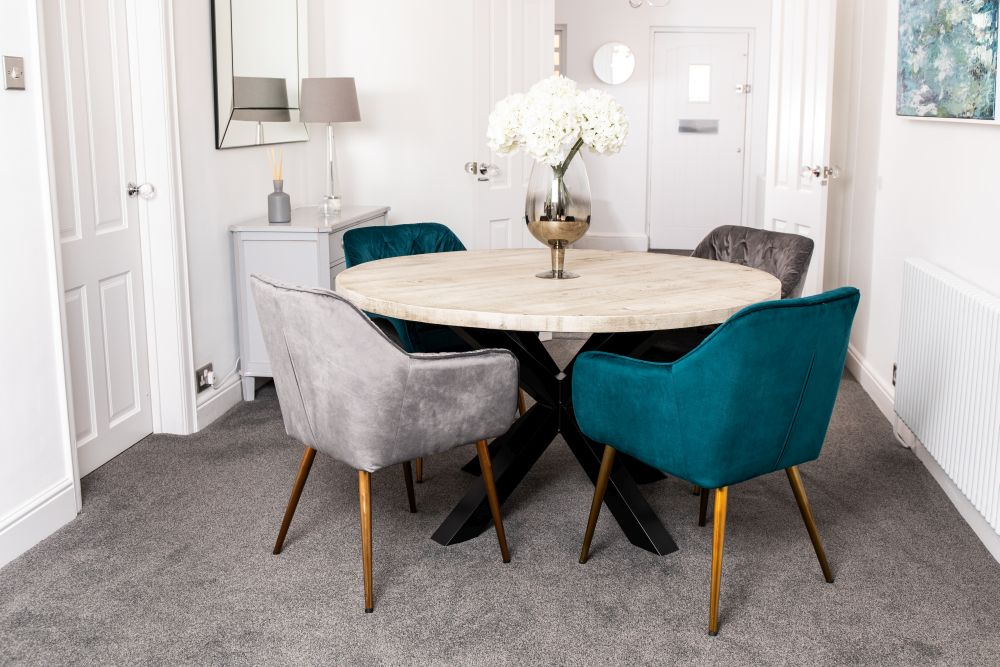 Velvet Dining Chair With Arms, Teal Dining Room Chairs
