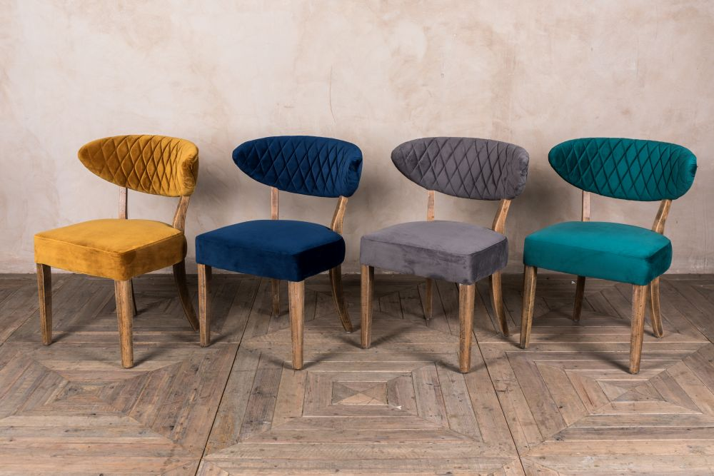 d541d0afad765 VELVET DINING CHAIRS RETRO STYLE SEAT