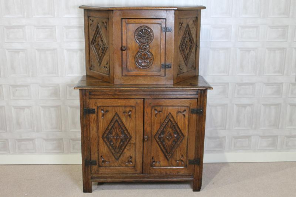 1930s oak and elm court cupboard